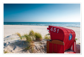 Premium poster  Red beach chair with a view - Reiner Würz