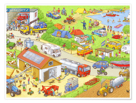 Premium poster  Cars, search and find: In the countryside - Stefan Seidel