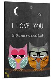 Aluminium print  Owls - I love you to the moon and back - GreenNest