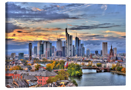 Canvas print  Frankfurt skyline in the evening light - HDR - HADYPHOTO