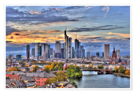 Premium poster  Frankfurt skyline in the evening light - HDR - HADYPHOTO