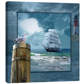 Canvas print  Collage With Sailing Ship - Monika Jüngling
