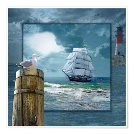 Premium poster  Collage With Sailing Ship - Monika Jüngling