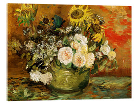 Acrylic print  Roses and sunflowers - Vincent van Gogh
