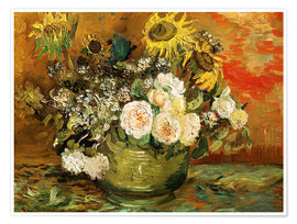 Premium poster  Roses and sunflowers - Vincent van Gogh