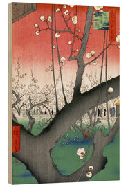 Wood print  The Plum Tree Teahouse at Kameido - Utagawa Hiroshige