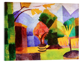 Acrylic print  Garden beside the lake Thun - August Macke