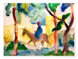 Premium poster  Man Riding on a Donkey - August Macke