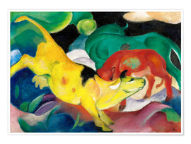 Premium poster  Cows - yellow, red, green - Franz Marc