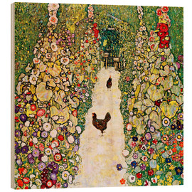 Wood print  Garden Path with Chickens - Gustav Klimt