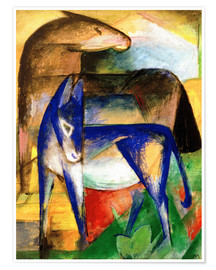 Premium poster  Two blue donkeys - Franz Marc