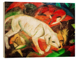 Wood print  Three animals (dog, fox and cat) - Franz Marc
