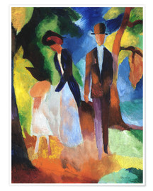 Premium poster  People at the blue lake - August Macke