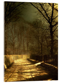 Acrylic print  A Moonlit Lane, with two lovers by a gate - John Atkinson Grimshaw