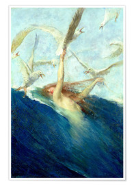 Premium poster  A Mermaid Being Mobbed by Seagulls - Giovanni Segantini