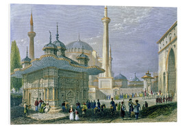 Foam board print  Fountain and Square of St. Sophia, Istanbul - William Henry Bartlett