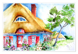 Premium poster  House with thatched roof at the Baltic Sea - Brigitte Dürr