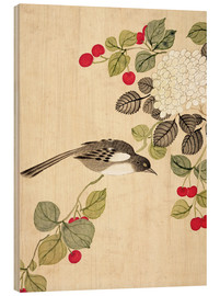 Wood print  Birds and berries, late 19th century - Wang Guochen