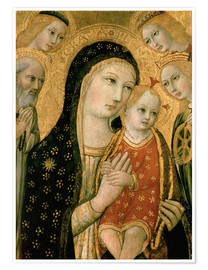 Premium poster Madonna and Child with Dominik and Catherine of Alexandria, 15th century