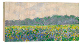 Wood print  Field of Yellow Irises in Giverny - Claude Monet