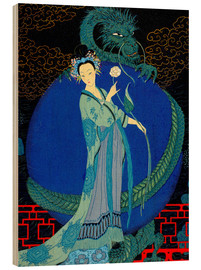 Wood print  Woman with a kite - Georges Barbier