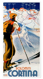 Premium poster  Skiing in Cortina, Dolomites - Travel Collection