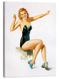 Canvas print  Pin Up - Seated Redhead in Swimsuit - Al Buell