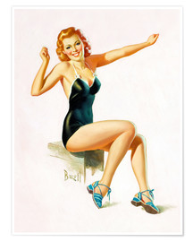 Premium poster  Pin Up - Seated Redhead in Swimsuit - Al Buell