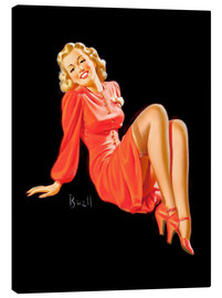 Canvas print  Pin Up - Lady in Red Dress - Al Buell