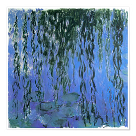 Premium poster  Water Lilies and Weeping Willow Branches - Claude Monet