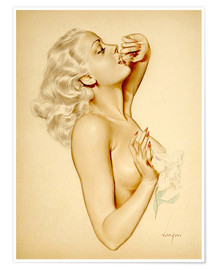 Premium poster  Girl with a Flower - Alberto Vargas