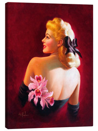 Canvas print  Glamour Pin Up with Pink Orchids - Art Frahm