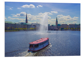 Foam board print  Alsterdampfer on the Inner Alster Hamburg - Dennis Stracke