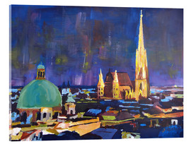 Acrylic print  Vienna Skyline at Night with St Stephan - M. Bleichner