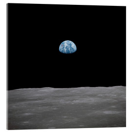 Acrylic print  Apollo 11 rise of the earth above the moon,  July 1969