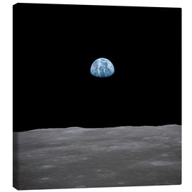 Canvas print  Apollo 11 rise of the earth above the moon,  July 1969