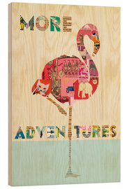 Wood print  Flamingo Collage auf Holz - GreenNest