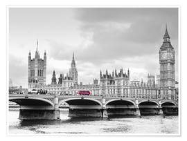 Premium poster  Westminster bridge with look at Big Ben and House of parliament - Edith Albuschat