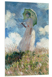 Foam board print  Woman with parasol turned to the left - Claude Monet