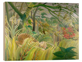 Wood print  Tiger in a tropical storm - Henri Rousseau