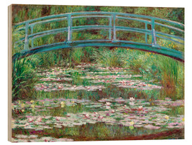 Wood print  Waterlily pond - Claude Monet
