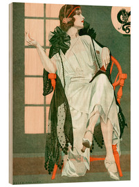Wood print  Lady writing - Clarence Coles Phillips