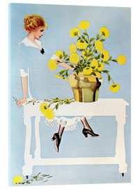 Acrylic print  Housekeeper with bouquet - Clarence Coles Phillips