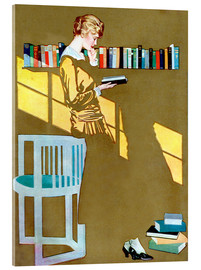 Acrylic print  Reading in front of the bookshelf - Clarence Coles Phillips