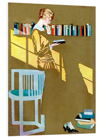 Foam board print  Reading in front of the bookshelf - Clarence Coles Phillips