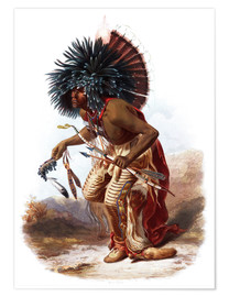 Premium poster  Indians with blue feathered headdress - Karl Bodmer