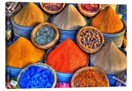 Canvas print  Colorful oriental spices on the bazaar in Marrakech - HADYPHOTO