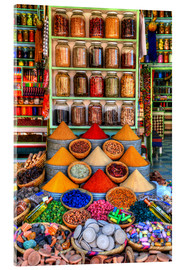 Acrylic print  Spices on a bazaar in Marrakech - HADYPHOTO