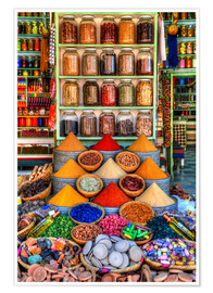 Premium poster  Spices on a bazaar in Marrakech - HADYPHOTO
