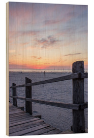 Wood print  Jetty into the sea from St Peter Ording - Dennis Stracke